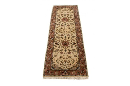 100% Wool Cream Indo Persian Meshed Rug Design Handknotted in India with a 15mm pile