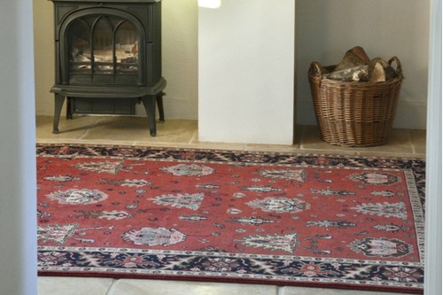 100% Wool Rust Indo Persian Shervan Rug Design Handknotted in India with a 15mm pile