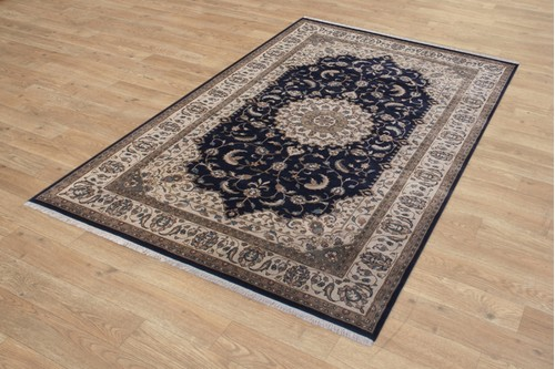 100% Wool Blue Fine Indo Persian Rug Design Handknotted in India with a 20mm pile