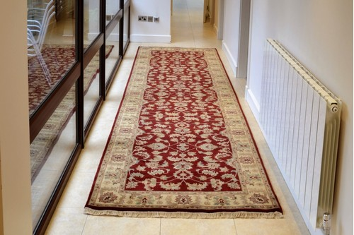 100% Wool Red Indo Persian Keshan Rug Design Handknotted in India with a 15mm pile
