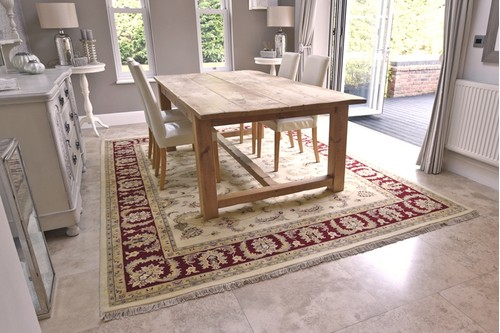 100% Wool Cream Indo Persian Keshan Rug Design Handknotted in India with a 15mm pile