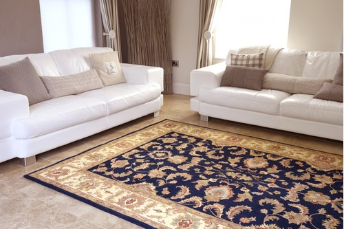 100% Wool Blue Indo Persian Keshan Rug Design Handknotted in India with a 15mm pile