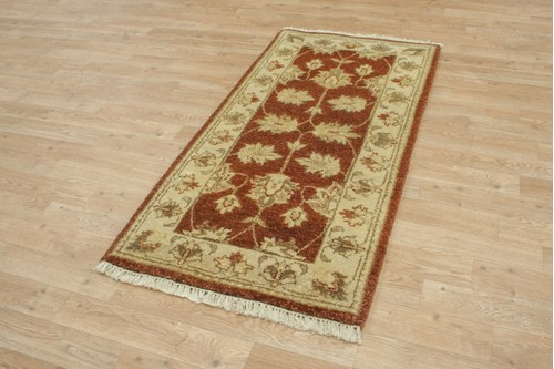 100% Twisted Argentine Wool Rust Ziegler Indian Rug Design IZV074 Handknotted in India with a 12mm pile