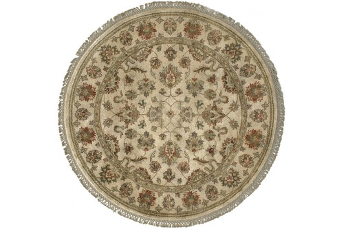 100% Twisted Argentine Wool Cream Ziegler Indian Rug Design IZV075 Handknotted in India with a 12mm pile