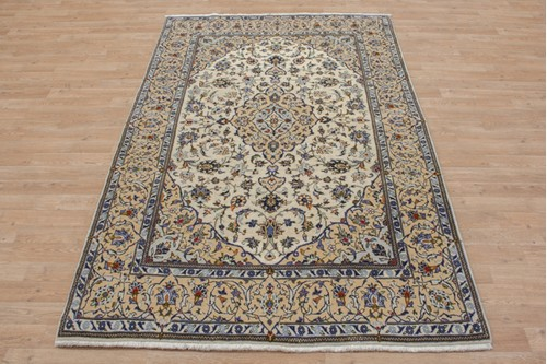 100% Wool Cream coloured Persian Kashan Rug KES019044 217x140 Handknotted in Iran with a 18mm pile