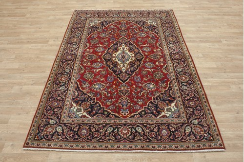 100% Wool Red coloured Persian Kashan Rug KES019052 214x140 Handknotted in Iran with a 18mm pile