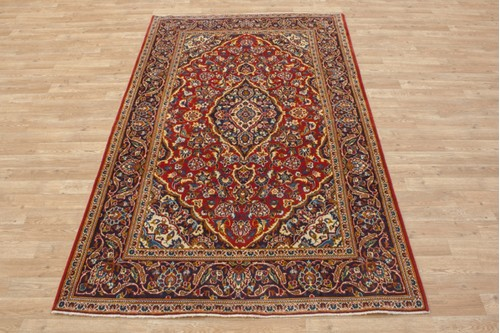 100% Wool Red coloured Persian Kashan Rug KES019052 219x135 Handknotted in Iran with a 18mm pile