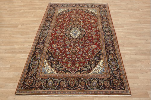 100% Wool Red coloured Persian Kashan Rug KES020052 230x138 Handknotted in Iran with a 18mm pile