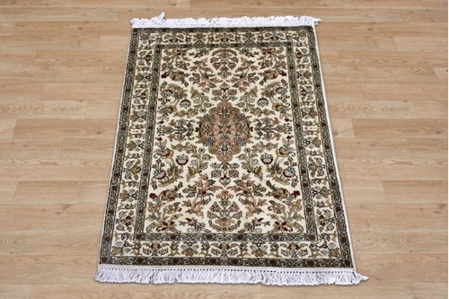 Kashmiri Silk Rug. Handknotted in India.content is 100% Silk pile Kashmiri Silk Rug KSK006075 97x60