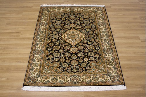 100% Silk Blue Kashmiri Silk Rug KSK009088 128x83 Handknotted in India with a 5mm pile