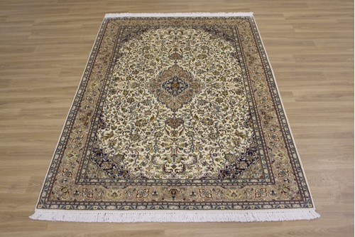 100% Silk Cream Kashmiri Silk Rug KSK018098 179 x 122 Handknotted in Kashmir with a 5mm pile