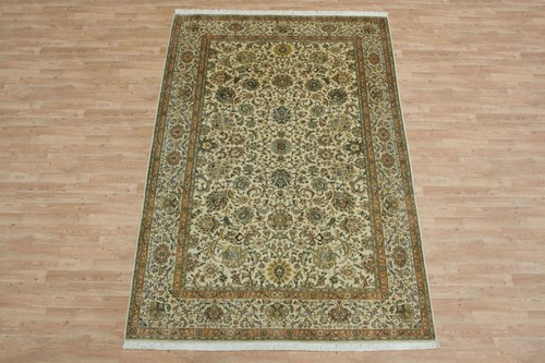 100% Silk Cream Kashmiri Silk Rug KSK022075 2.85 x 1.89 Handknotted in Kashmir with a 5mm pile