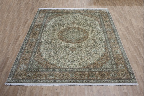 100% Silk Cream Kashmiri Silk Rug KSK028094 3.66 x 2.78 Handknotted in Kashmir with a 5mm pile