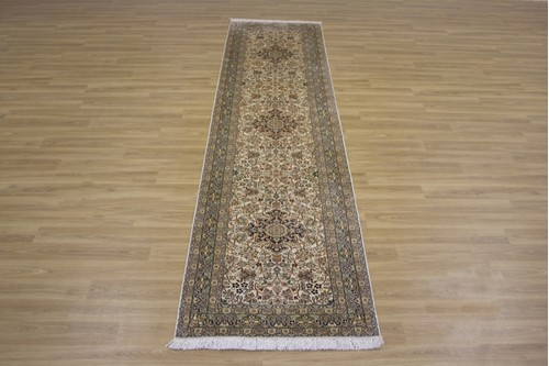 100% Silk Cream Kashmiri Silk Rug KSK047090 2.94 x .71 Handknotted in Kashmir with a 5mm pile