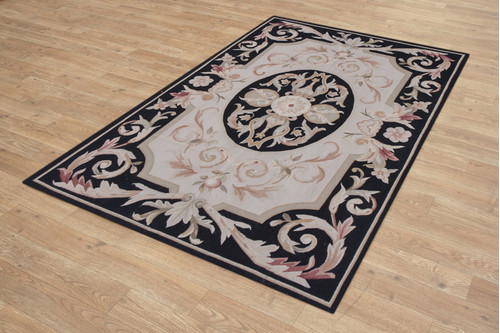 100% Wool Black Aubusson Rugs and Carpets Handmade in China with a 5mm pile