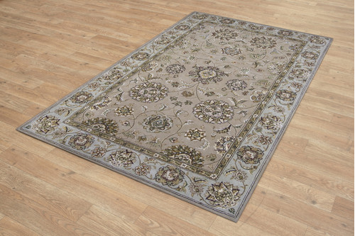 95% Wool / 5% Silk Beige Royal Yelmi Rug Design Handtufted in China with a 12mm pile