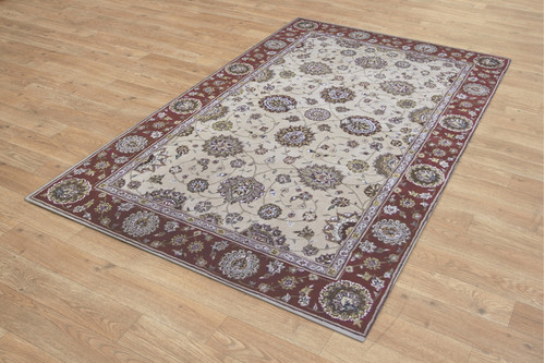 95% Wool / 5% Silk Cream Royal Yelmi Rug Design Handtufted in China with a 12mm pile