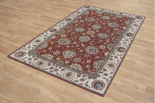 95% Wool / 5% Silk Rust Royal Yelmi Rug Design Handtufted in China with a 12mm pile