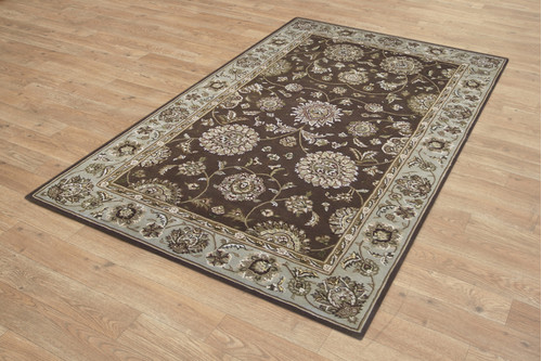 95% Wool / 5% Silk Brown Royal Yelmi Rug Design Handtufted in China with a 12mm pile