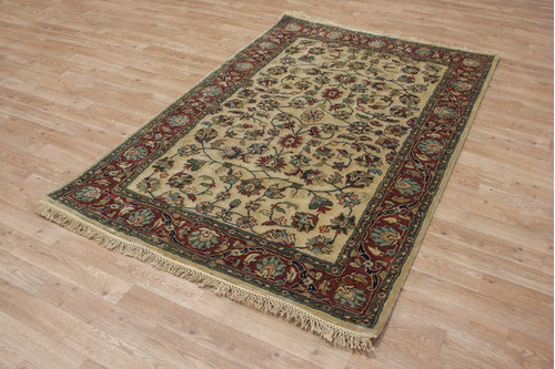 100% Wool Cream Indo Persian Rug Design HPF001 Handmade in India with a 18mm pile