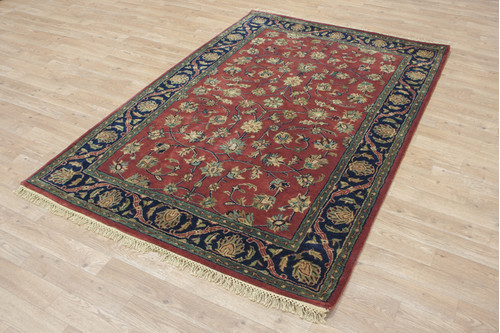 100% Wool Red Indo Persian Rug Design HPF002 Handmade in India with a 18mm pile
