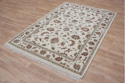 100% Wool Cream Indo Persian Rug Design HPF006 Handmade in India with a 18mm pile