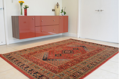 100% Wool Red Mohatta Woven Rug Machine Made in Moldova with a 10mm pile