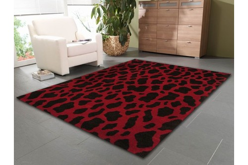 100% Wool Red Laura Jade Indian Rug Design Handtufted in India with a 20mm pile