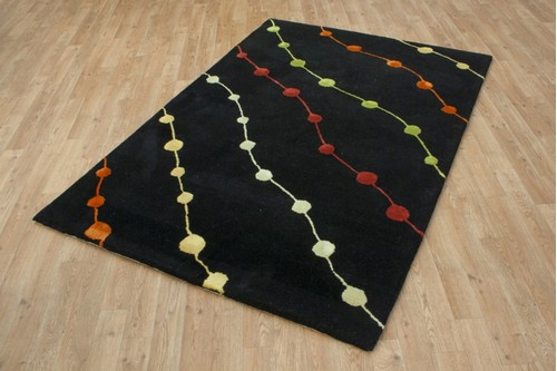 100% Wool Black Laura Jade Indian Rug Design LJA044 Handmade in India with a 18mm pile