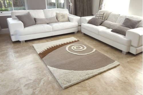 100% Wool Cream Laura Jade Indian Rug Design Handtufted in India with a 30mm pile