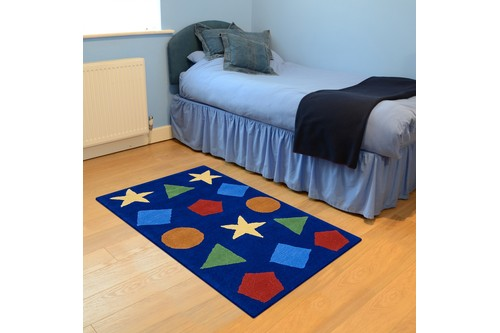 100% WooL Blue Kids Rug Blue Shapes LKI001 Handmade in India with a 15mm pile