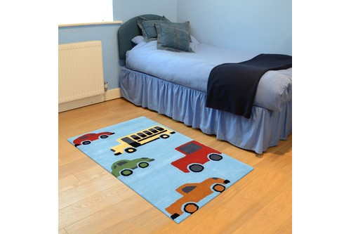 100% Wool Blue Kids Rug L.Blue Vehicles LKI002 Handmade in India with a 15mm pile