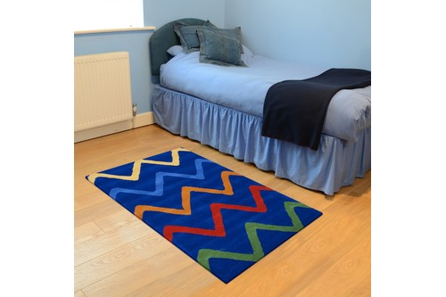 100% Wool Blue Kids Rug Blue Zigs LKI003 Handmade in India with a 15mm pile