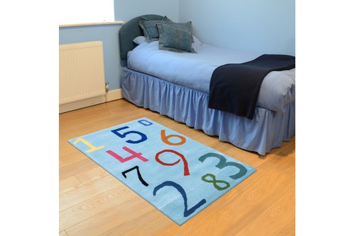 100% Wool Blue Kids Rug L.Blue Numbers LKI004 Handmade in India with a 15mm pile