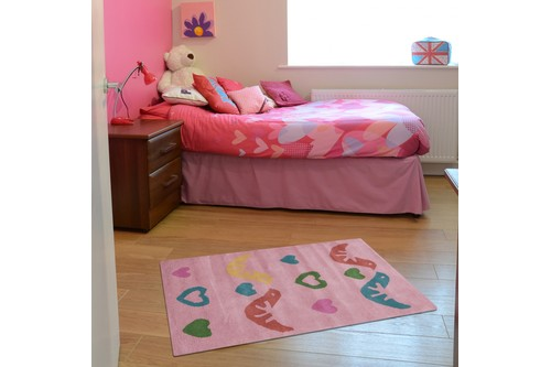 100% Wool Rose Kids Rug L.Pink Bird Hearts LKI005 Handmade in India with a 15mm pile