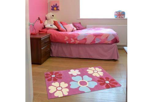 100% Wool Rose Kids Rug Pink Flowers LKI006 Handmade in India with a 15mm pile