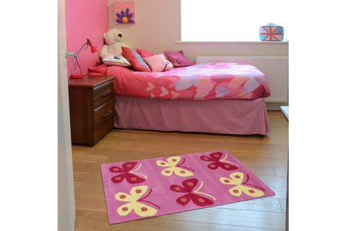 100% Wool Rose Kids Rug Pink Butterflys Row LKI008 Handmade in India with a 15mm pile