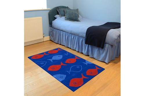 100% Wool Blue Kids Rug Blue Fish LKI009 Handmade in India with a 15mm pile