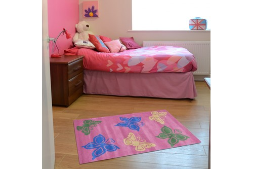 100% Wool Rose Kids Rug Pink Butterflys LKI010 Handmade in India with a 15mm pile