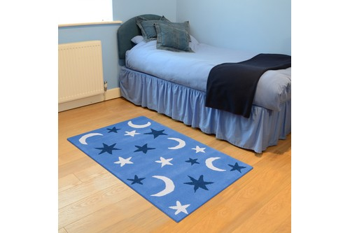 100% Wool Blue Kids Rug L.Blue Night Sky LKI011 Handmade in India with a 15mm pile