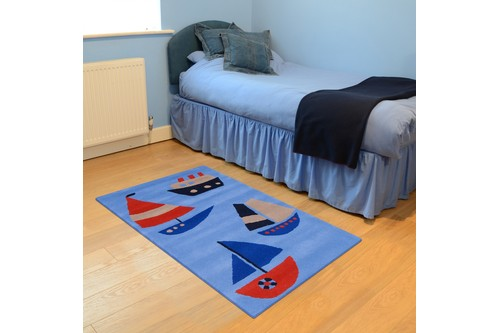 100% Wool Blue Kids Rug L.Blue Boats LKI013 Handmade in India with a 15mm pile