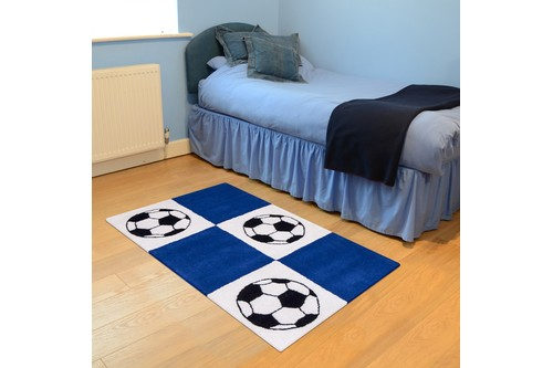 100% Wool Blue Kids Rug Blue Football LKI016 Handmade in India with a 15mm pile