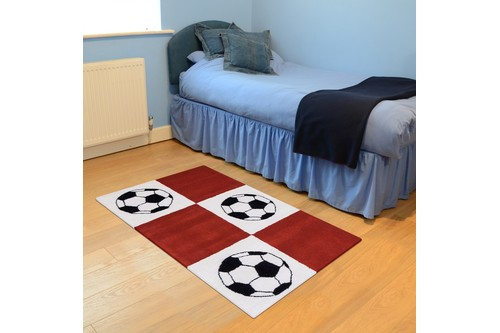 100% Wool Red Kids Rug Red Football LKI017 Handmade in India with a 15mm pile