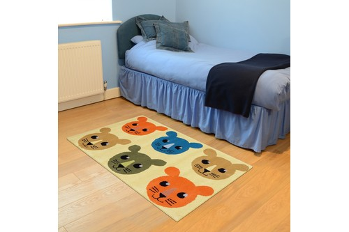 100% Wool Multi Kids Rug Animal Face LKI018 Handmade in India with a 15mm pile