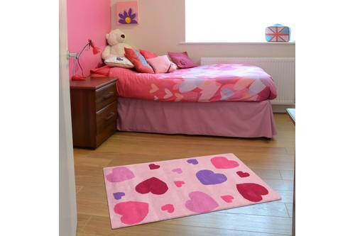 100% Wool Rose Kids Rug Pink Hearts LKI019 Handmade in India with a 15mm pile