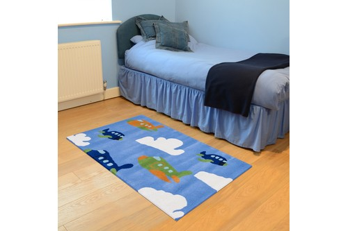 100% Wool Blue Kids Rug Blue Aeroplane LKI022 Handmade in India with a 15mm pile