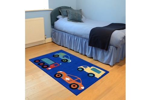 100% Wool Blue Kids Rug Blue Vehicles LKI023 Handmade in India with a 15mm pile