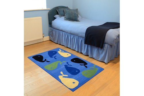 100% Wool Blue Kids Rug Blue Fish LKI025 Handmade in India with a 15mm pile
