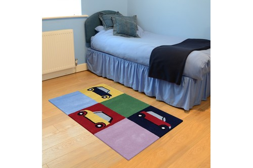 100% Wool Multi Kids Rug Multi Cars LKI026 Handmade in India with a 15mm pile