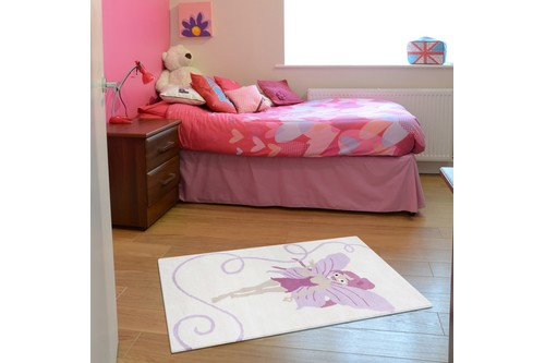 100% Wool Cream Kids Rug Pink Fairy LKI030 Handmade in India with a 15mm pile
